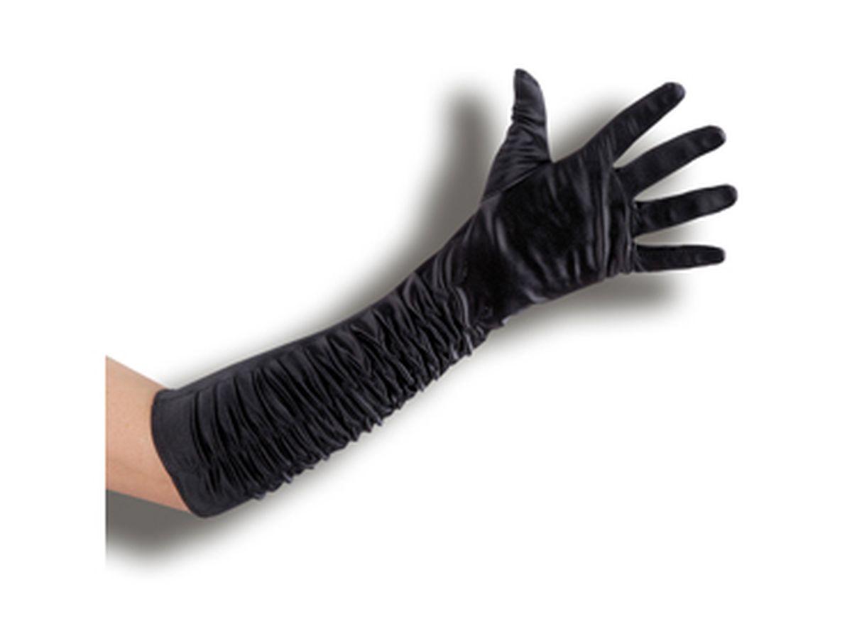 guanti lunghi in raso neri