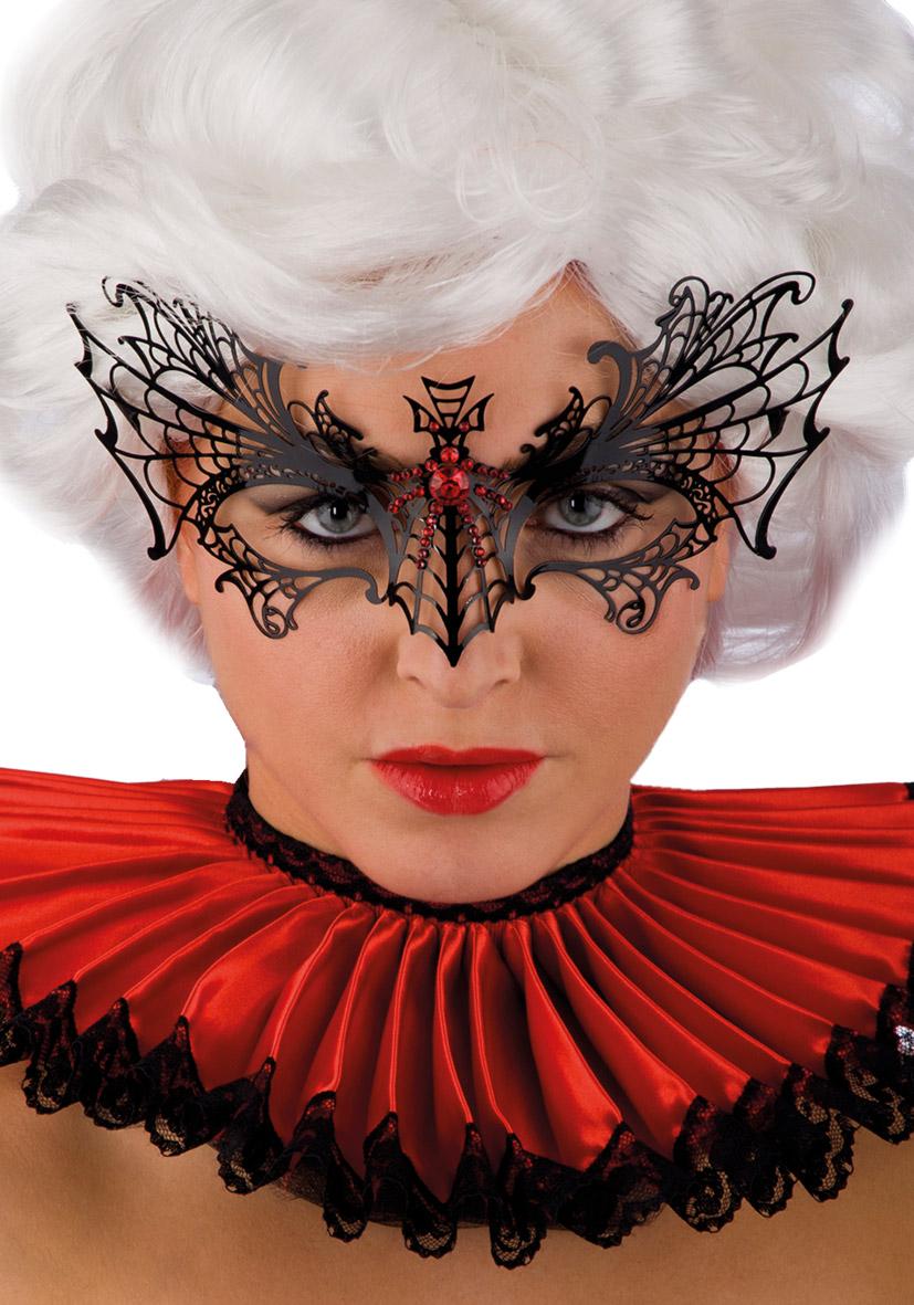 Maschera nera in metallo con ragno e strass