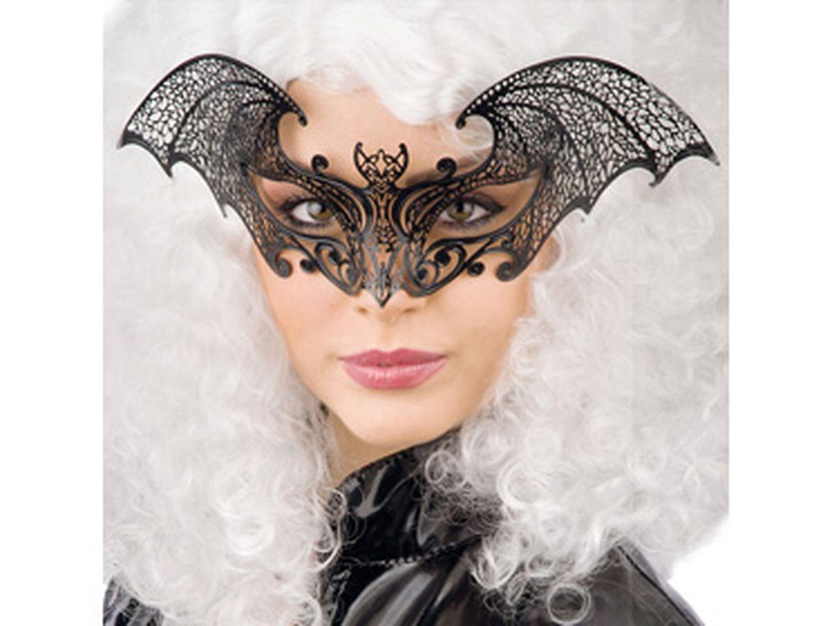 maschera pipistrello nera in metallo