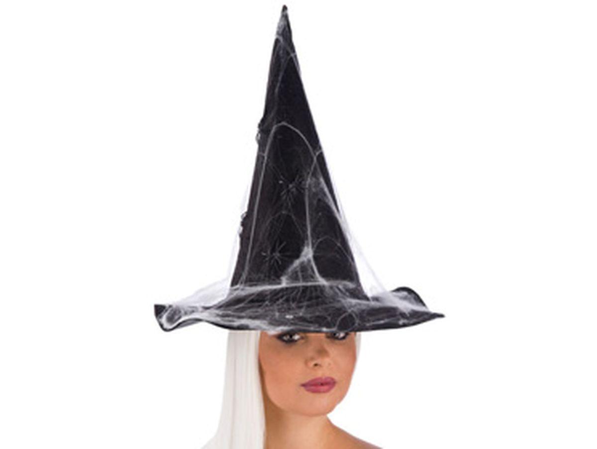 cappello da strega nero con ragnatele