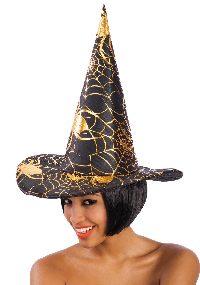 cappello strega nero con decori oro