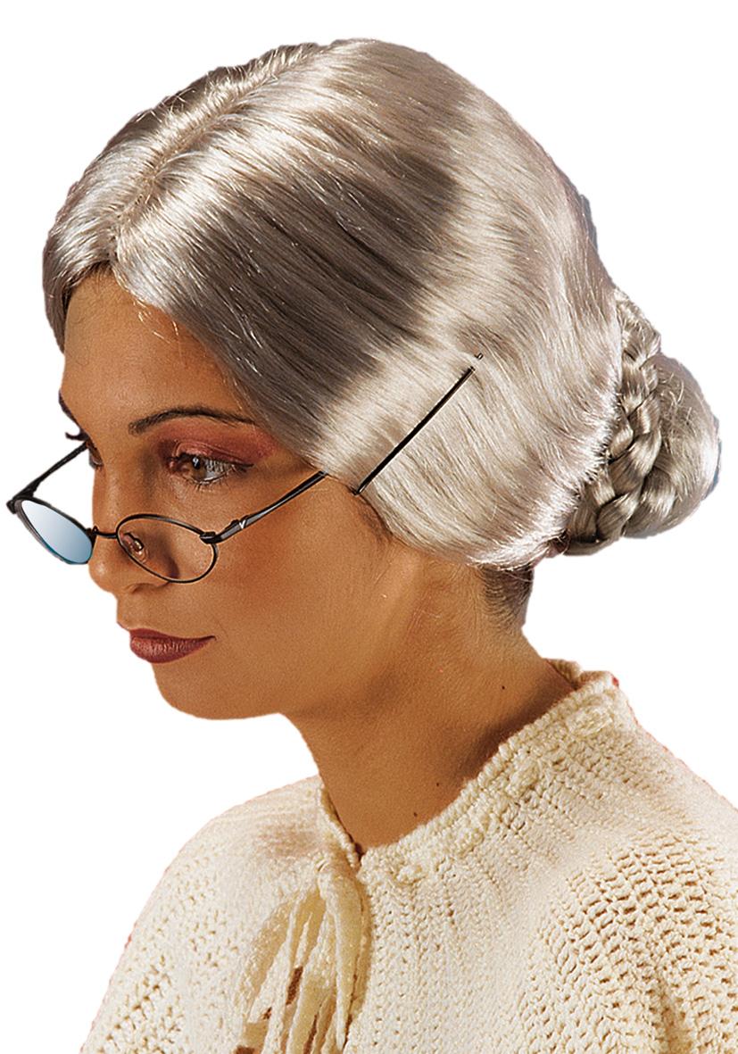 Parrucca vecchia con chignon e forcine