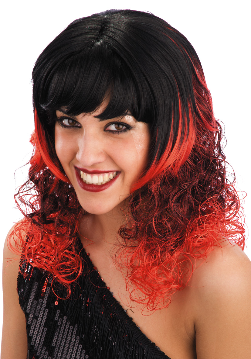Parrucca candy girl nera e rossa