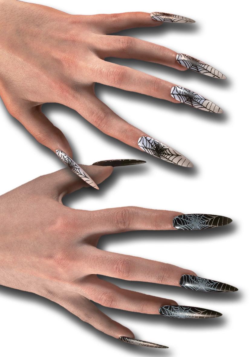 unghie in plastica con ragnatele