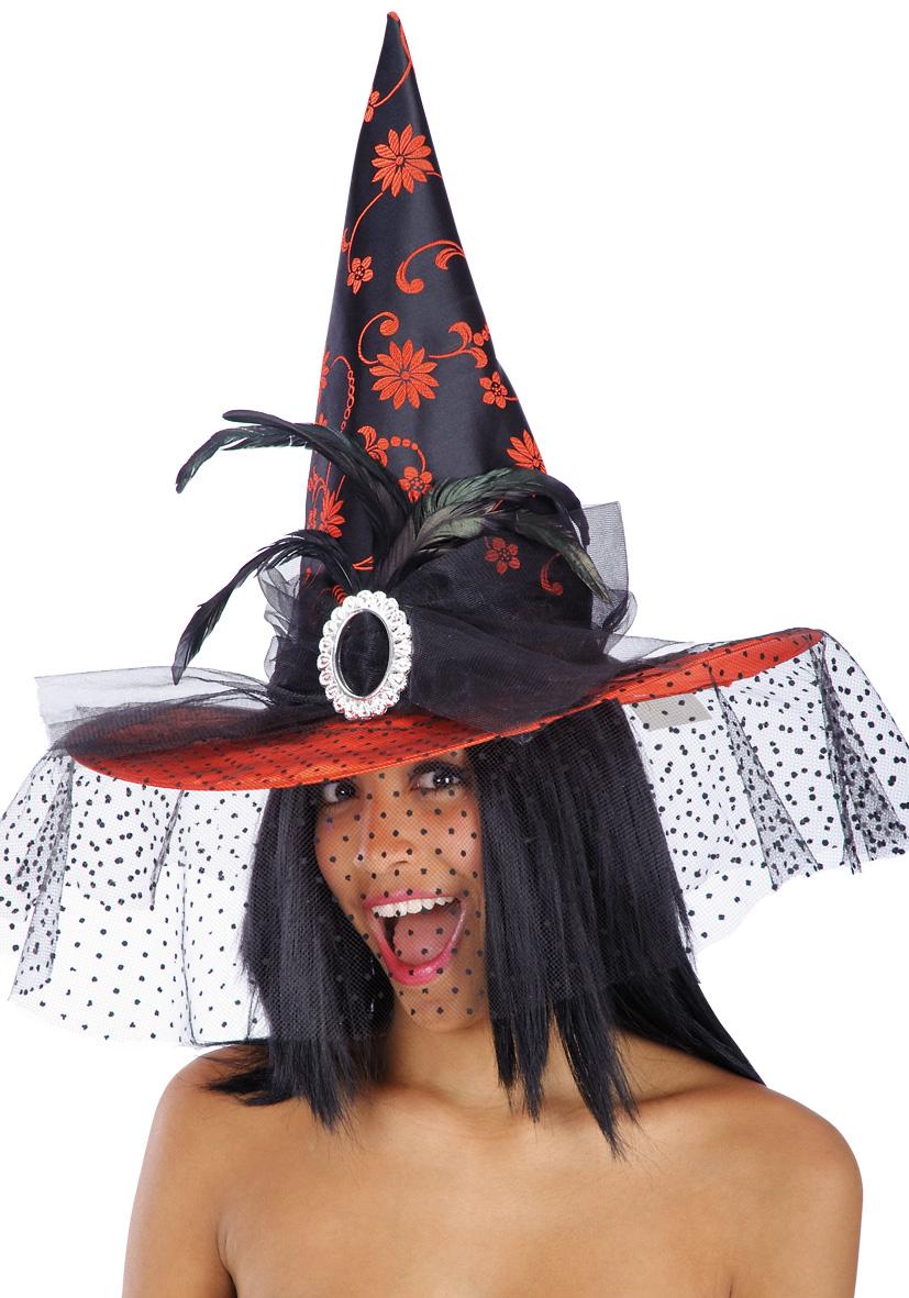 Cappello in raso rosso e nero