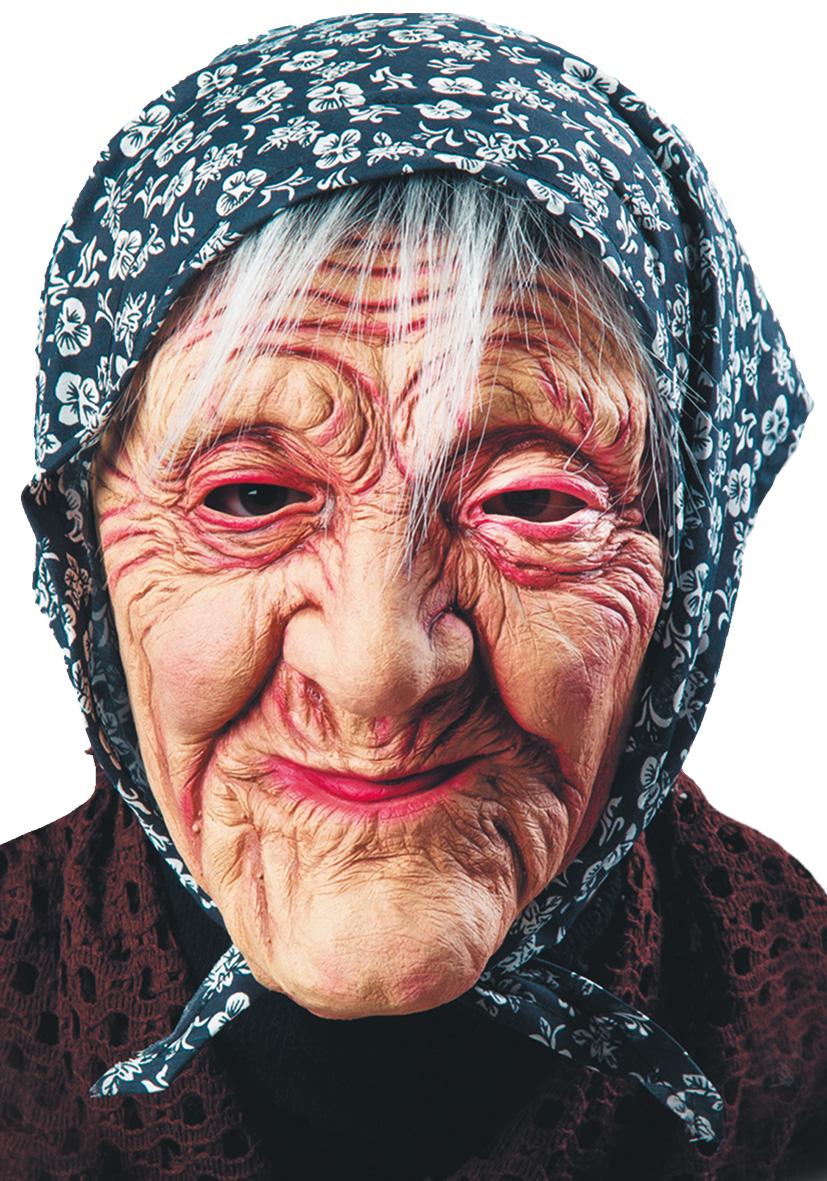 Maschera Befana con fazzoletto e capelli
