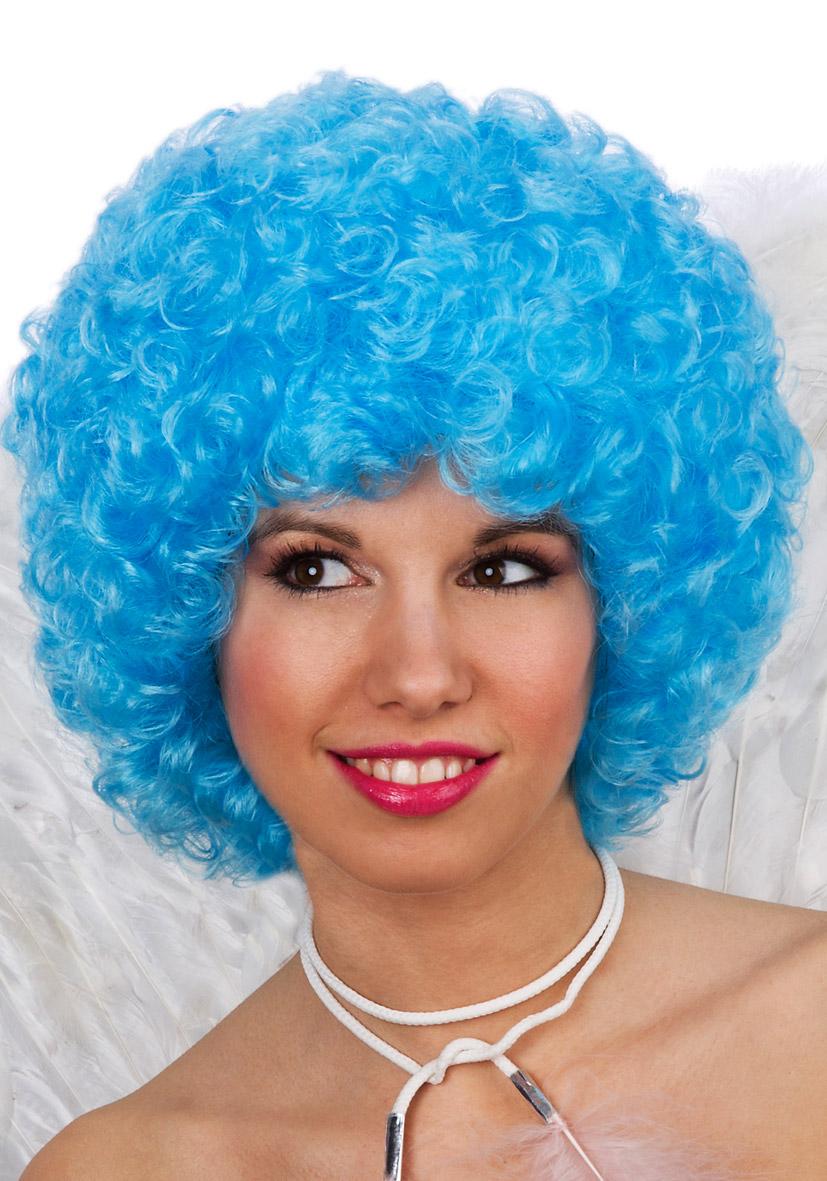 Parrucca ricciolina azzurra