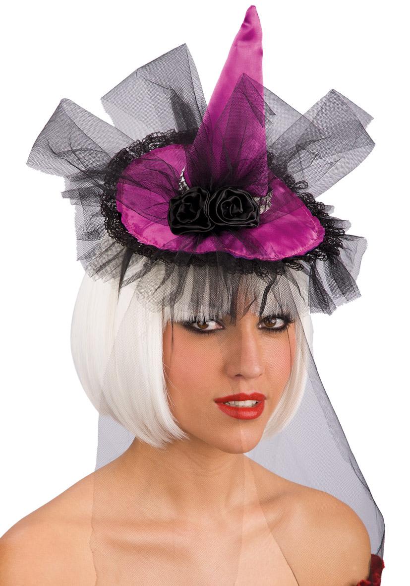 Cappello mini da strega viola