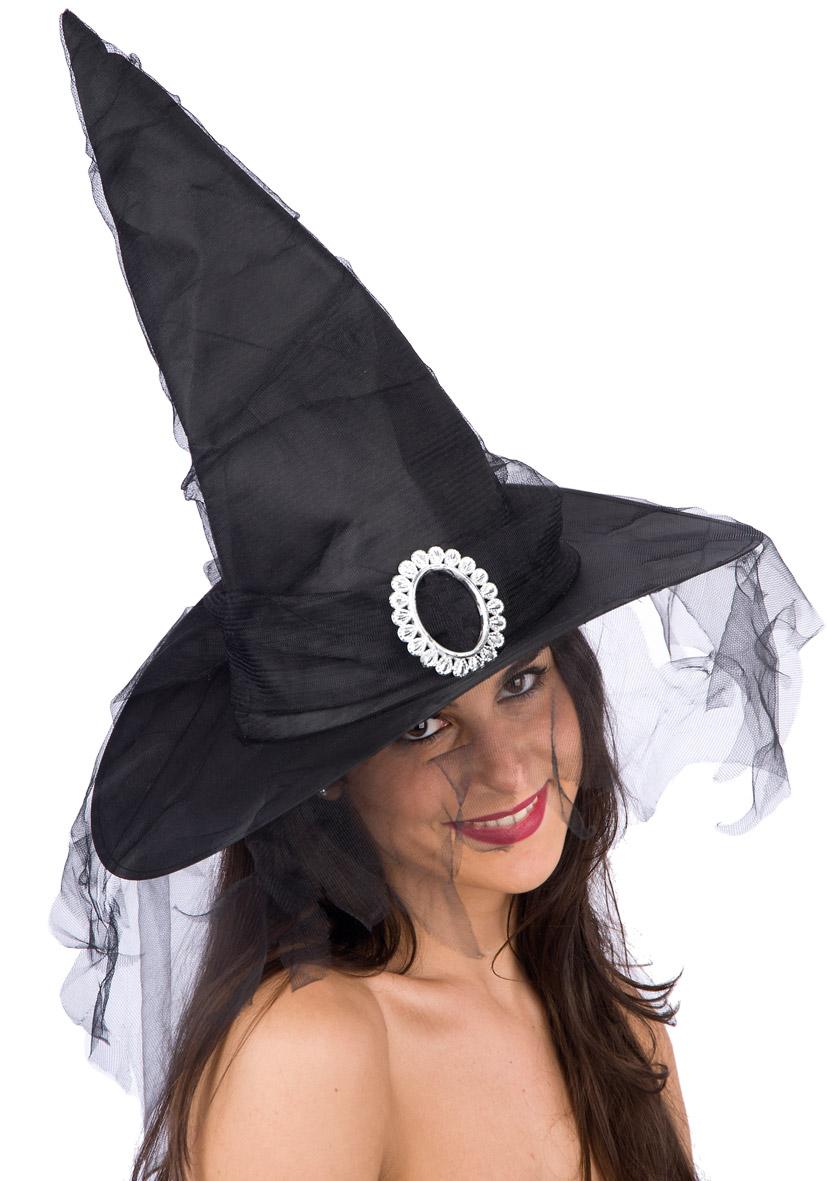Cappello strega nero fibbia e veletta