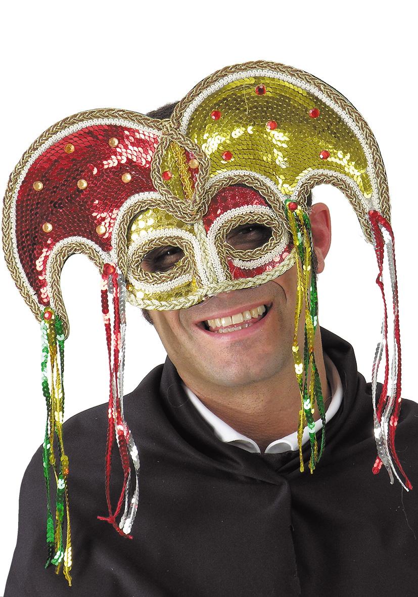 Maschera jolly con paillettes oro e rosse