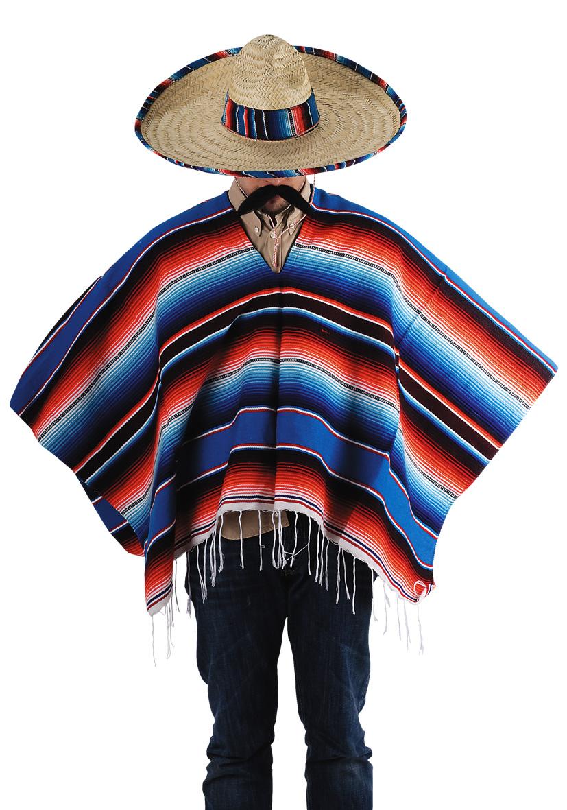 Poncho e sombrero in paglia