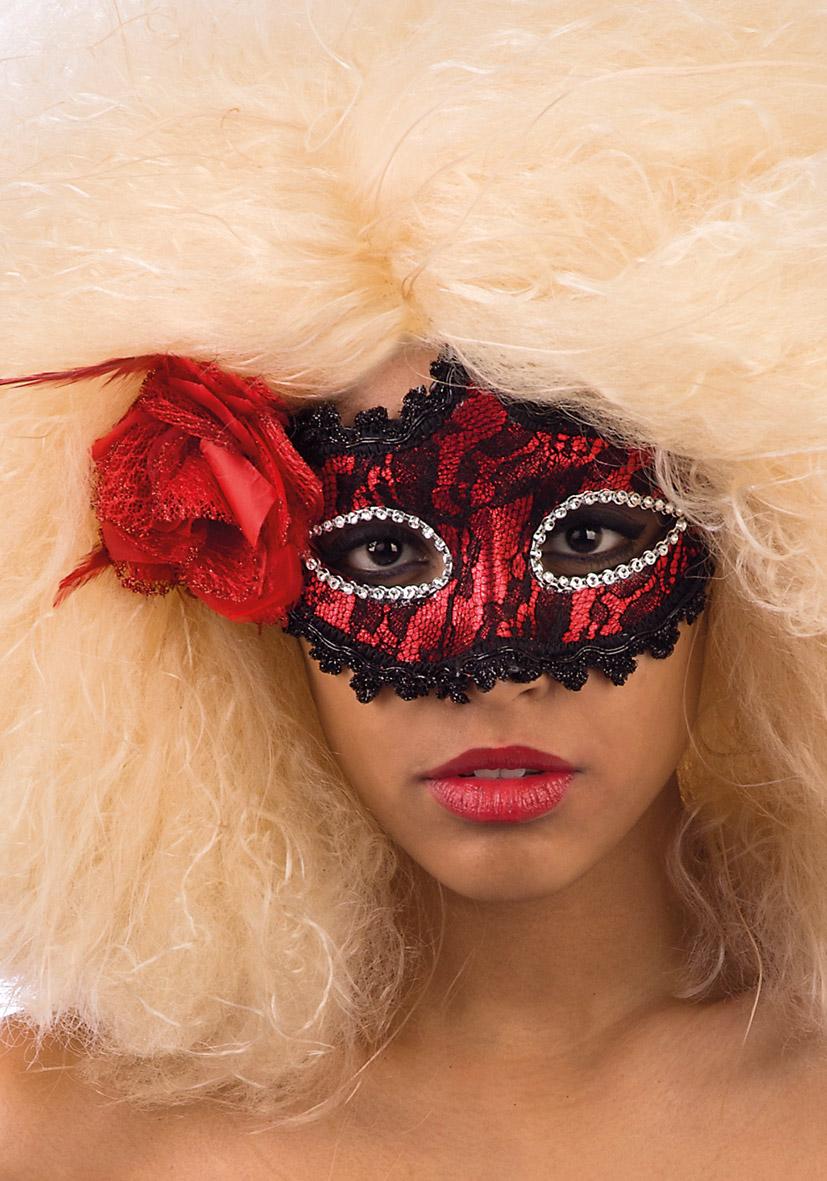 Maschera rossa con pizzo nero e rosa