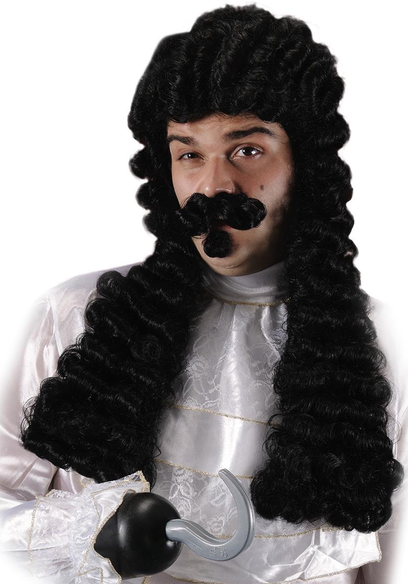 Parrucca capitan uncino con pizzo e baffi
