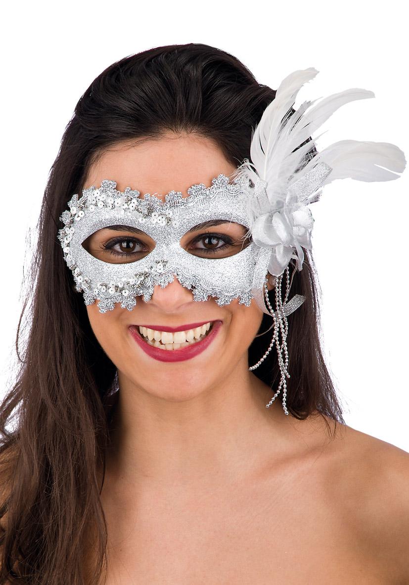 Maschera bianca con glitter, rosa e piume