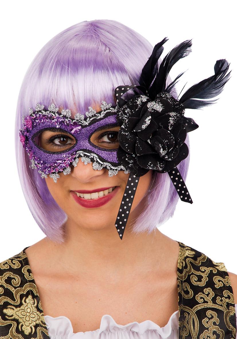Maschera viola con glitter, rosa e piume