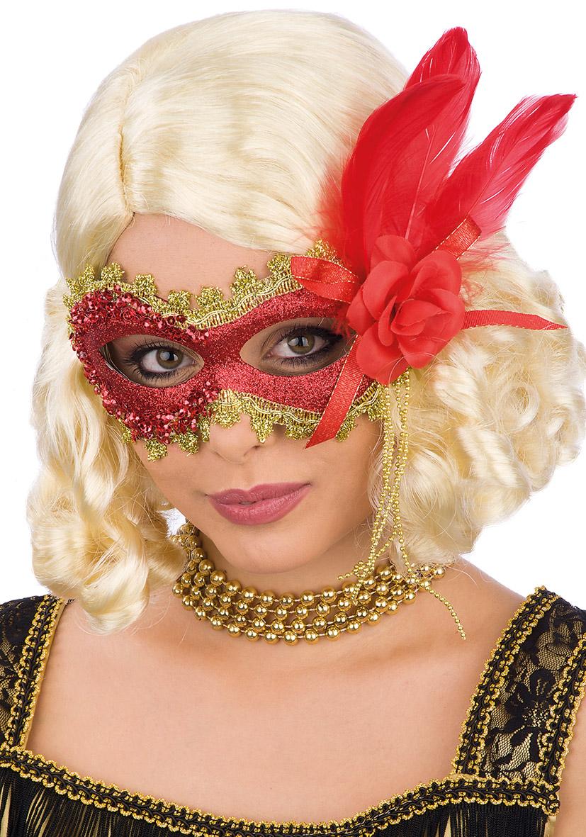 maschera rossa con glitter, rosa e piume