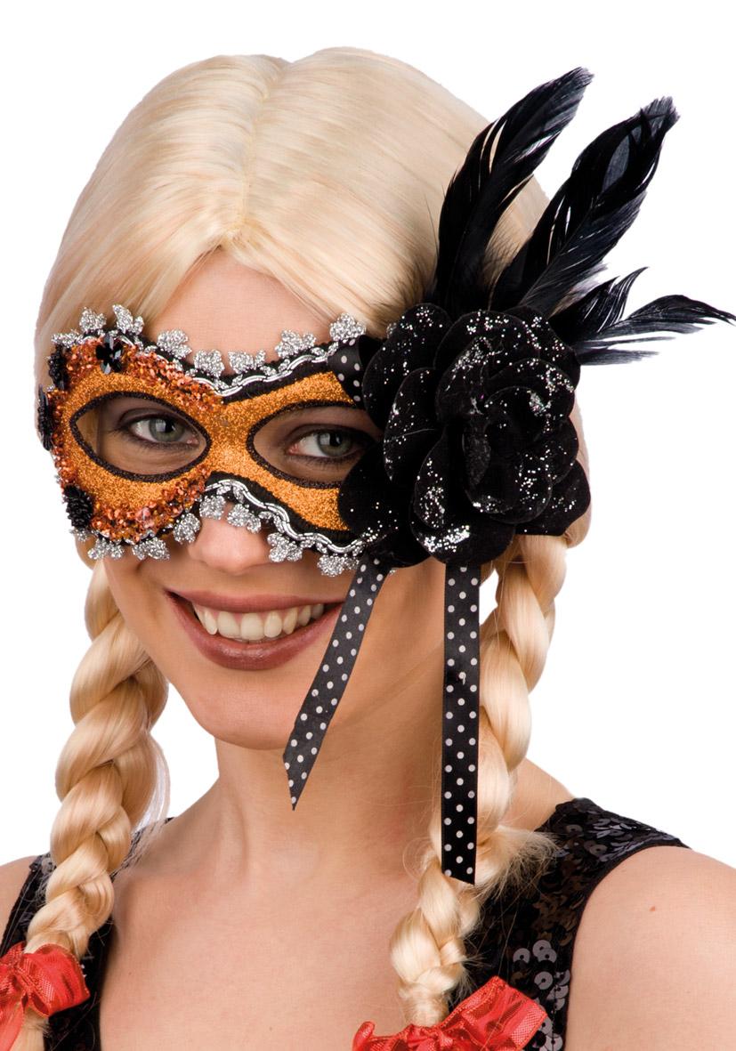 Maschera arancione con glitter, rosa e piume
