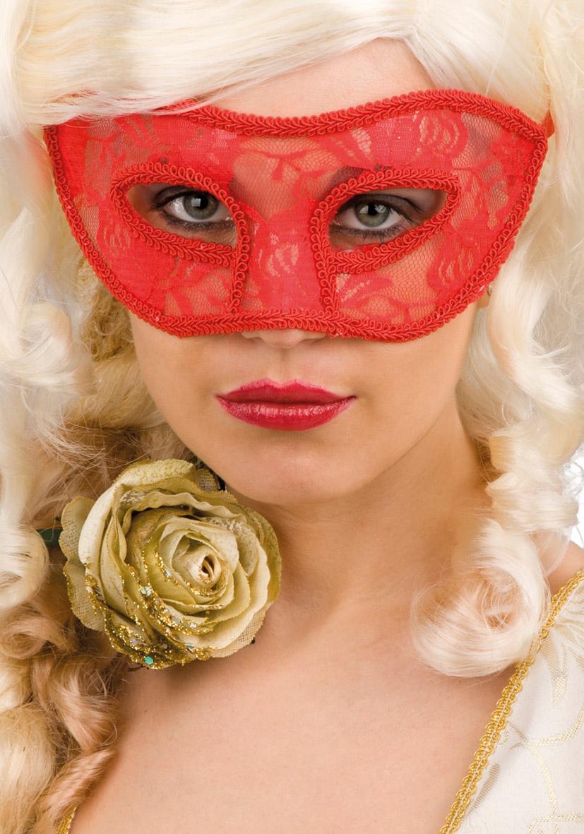 Maschera rossa in pizzo