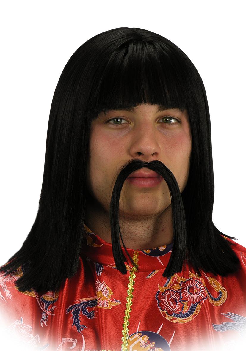 Parrucca cinese con baffi