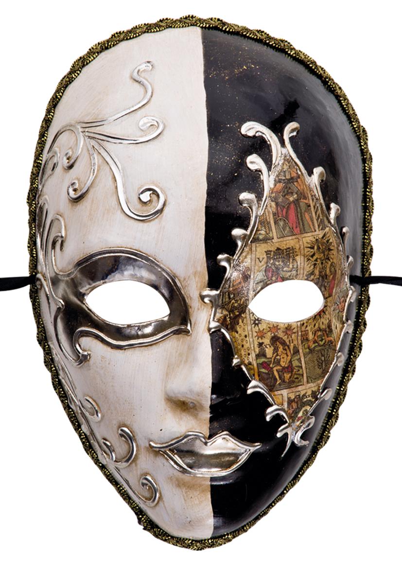 Maschera in cartapesta veneziana bianco e nero