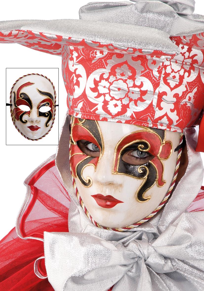 Maschera veneziana in cartapesta rossa e nera