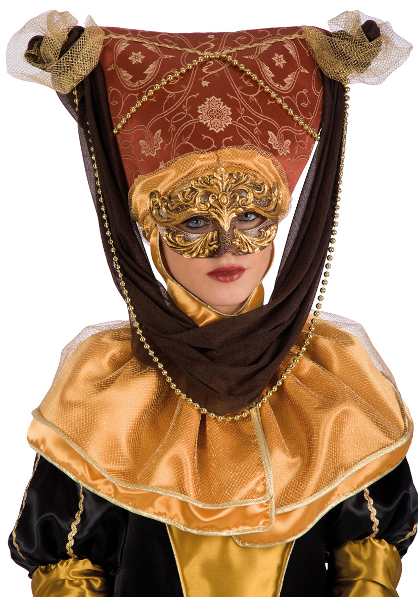 Copricapo veneziano marrone ed oro