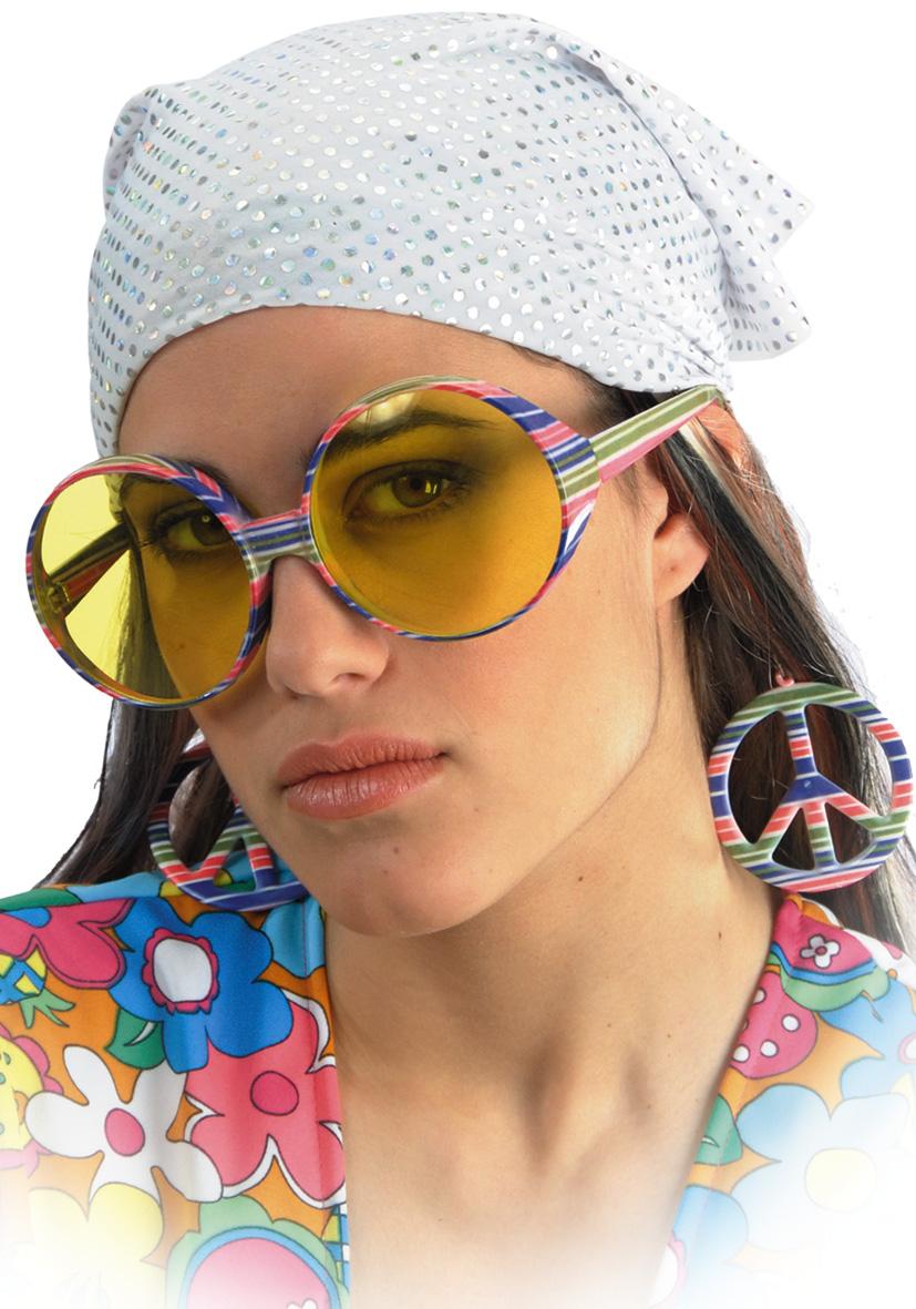 Occhiali hippie con orecchini