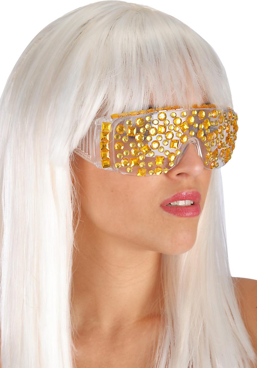 Occhiali con gemme oro