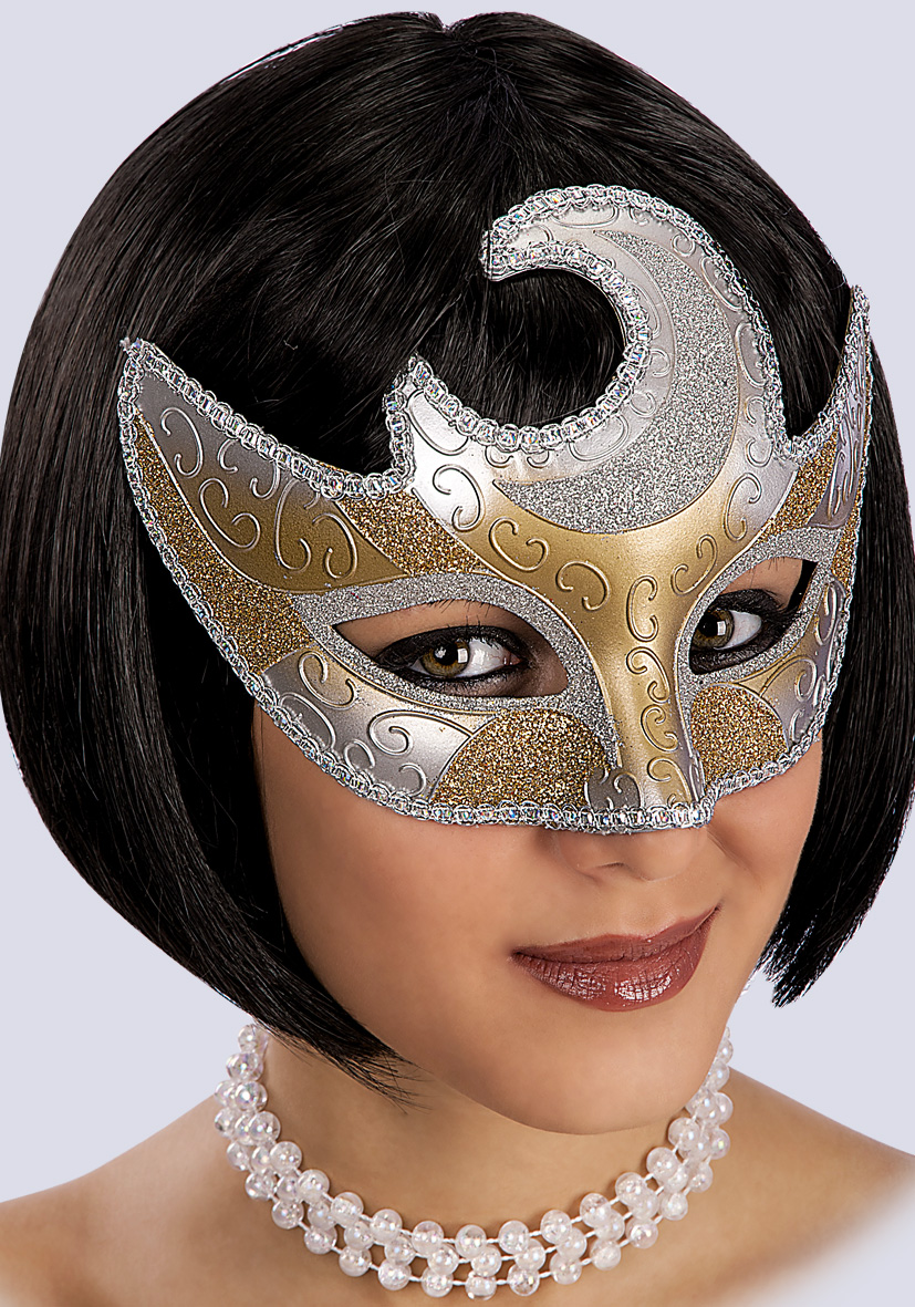 maschera decoro luna argento