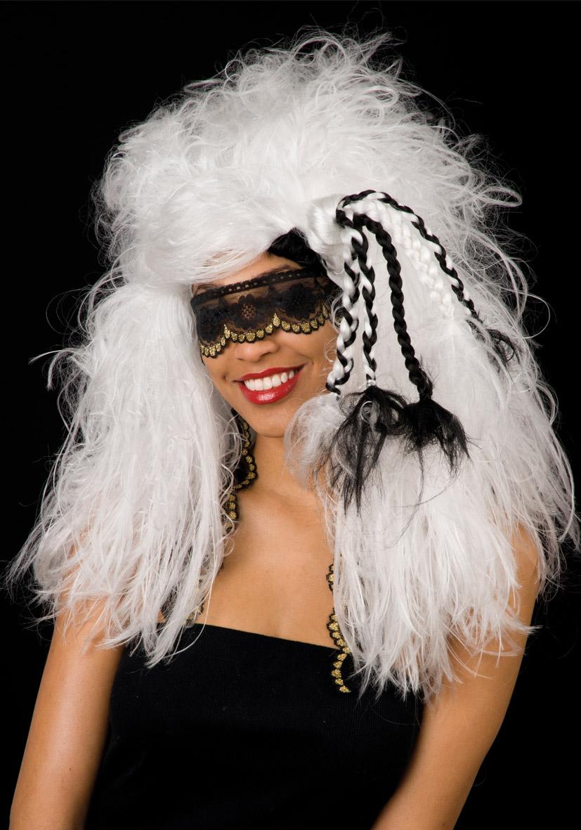 Parrucca sensitive bianca e benda pizzo